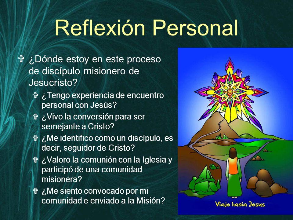 Reflexión Personal  ¿Dónde estoy en este proceso de discípulo misionero de Jesucristo.