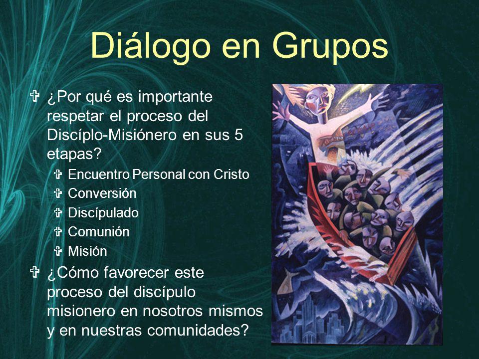 Diálogo en Grupos  ¿Por qué es importante respetar el proceso del Discíplo-Misiónero en sus 5 etapas.
