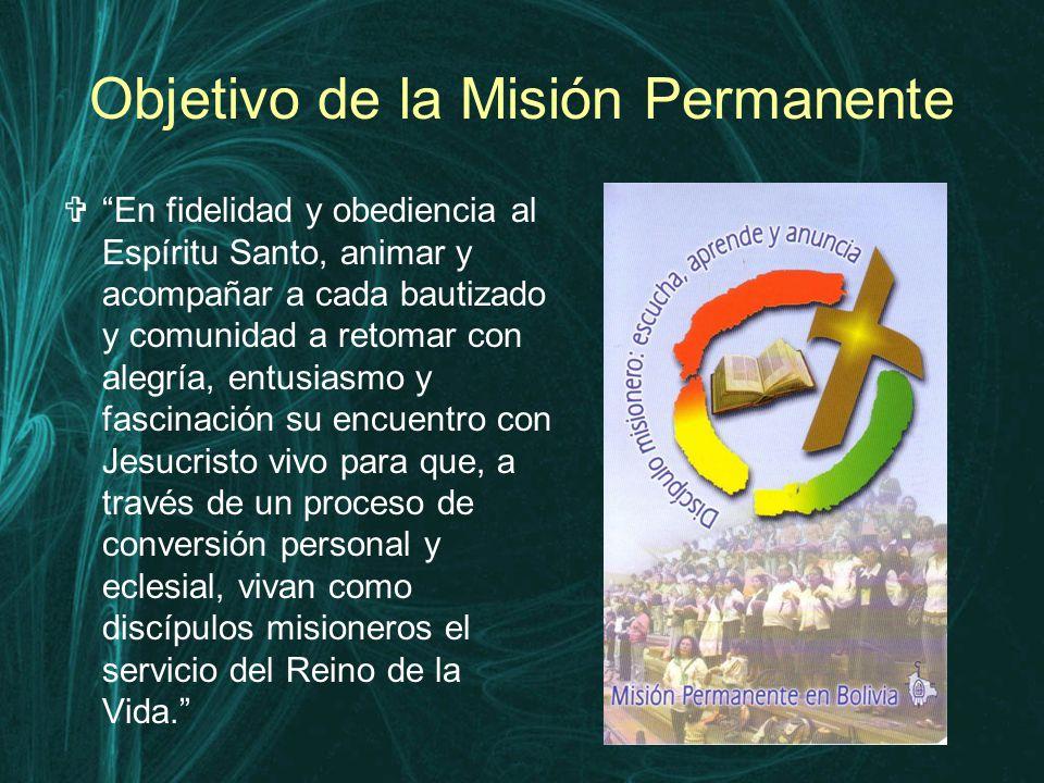 Objetivo de la Misión Permanente  En fidelidad y obediencia al Espíritu Santo, animar y acompañar a cada bautizado y comunidad a retomar con alegría, entusiasmo y fascinación su encuentro con Jesucristo vivo para que, a través de un proceso de conversión personal y eclesial, vivan como discípulos misioneros el servicio del Reino de la Vida.