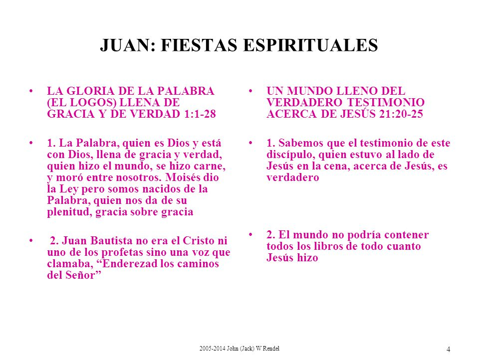 2005-2014 John (Jack) W Rendel 4 LA GLORIA DE LA PALABRA (EL LOGOS) LLENA DE GRACIA Y DE VERDAD 1:1-28 1.