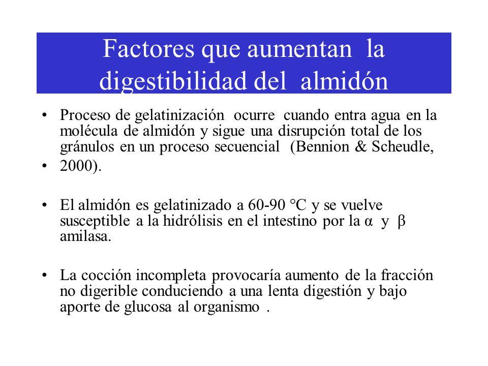 Factores que aumentan la digestibilidad del almidón Proceso de gelatinización ocurre cuando entra agua en la molécula de almidón y sigue una disrupción total de los gránulos en un proceso secuencial (Bennion & Scheudle, 2000).
