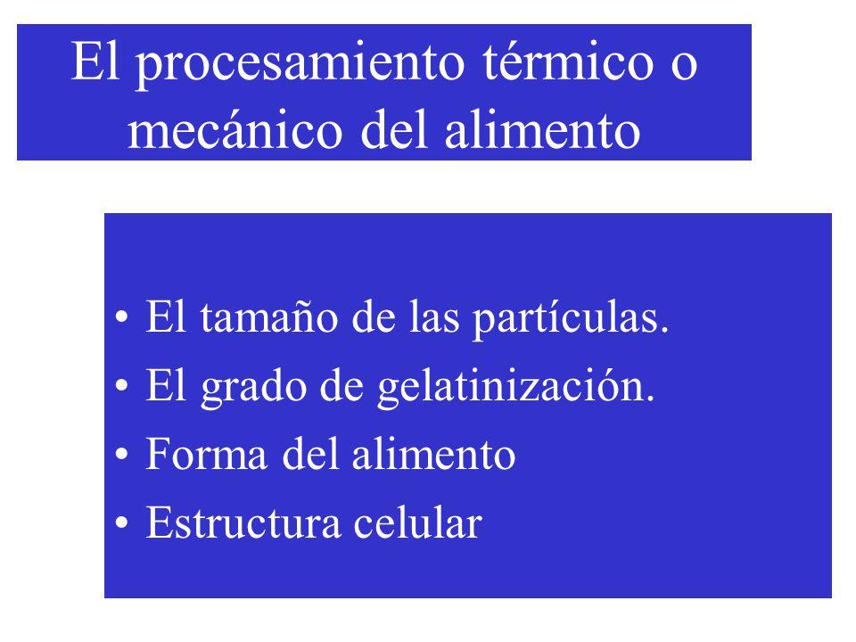 El procesamiento térmico o mecánico del alimento El tamaño de las partículas.