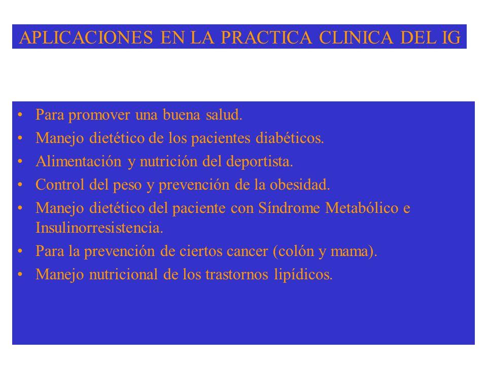 APLICACIONES EN LA PRACTICA CLINICA DEL IG Para promover una buena salud.