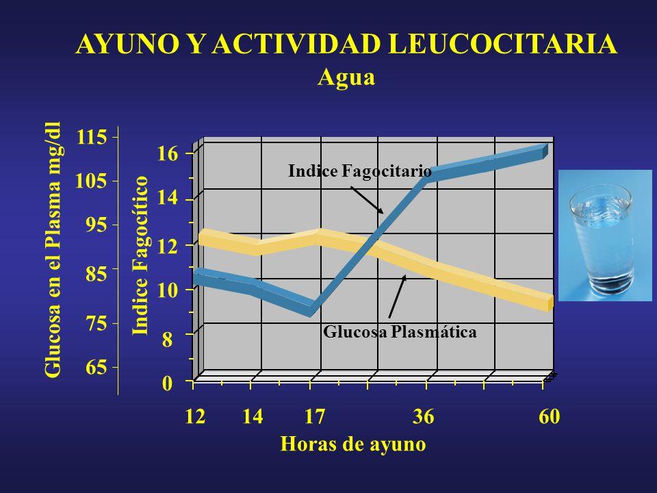 16 0 8 10 12 14 105 95 85 75 65 115 AYUNO Y ACTIVIDAD LEUCOCITARIA Agua Glucosa en el Plasma mg/dl Indice Fagocítico 14173660 Horas de ayuno Indice Fagocitario Glucosa Plasmática 12