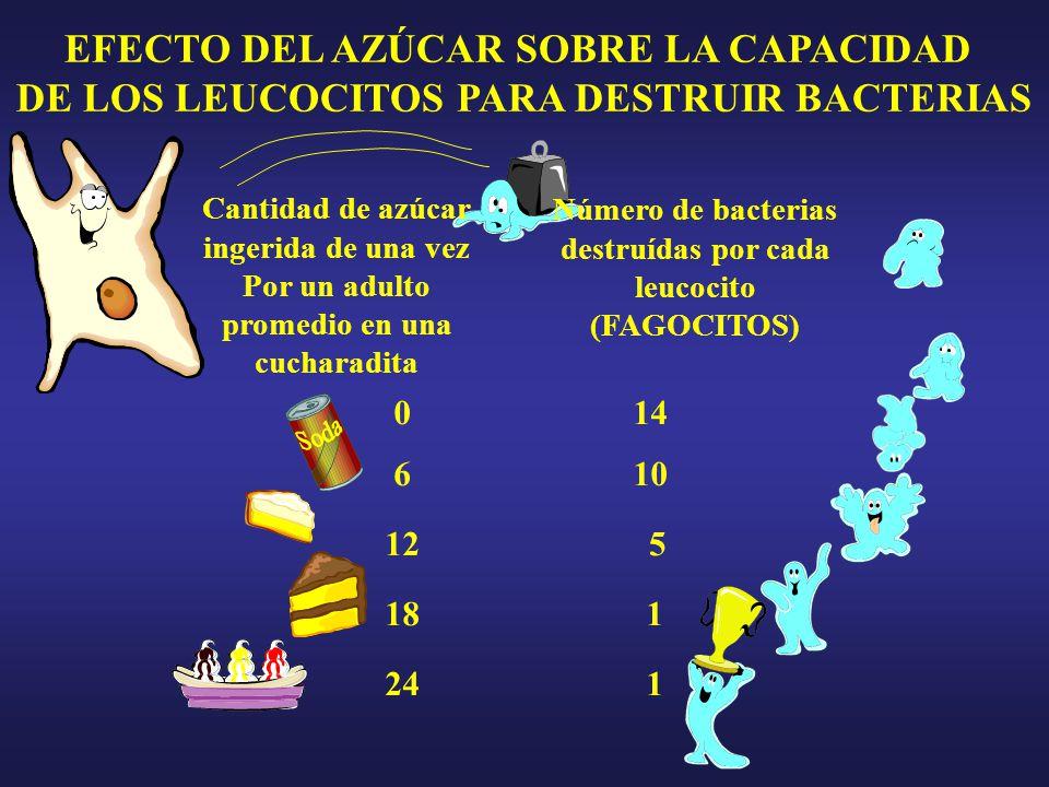 6 12 18 24 0 1 1 5 10 14 Número de bacterias destruídas por cada leucocito (FAGOCITOS) Cantidad de azúcar ingerida de una vez Por un adulto promedio en una cucharadita EFECTO DEL AZÚCAR SOBRE LA CAPACIDAD DE LOS LEUCOCITOS PARA DESTRUIR BACTERIAS