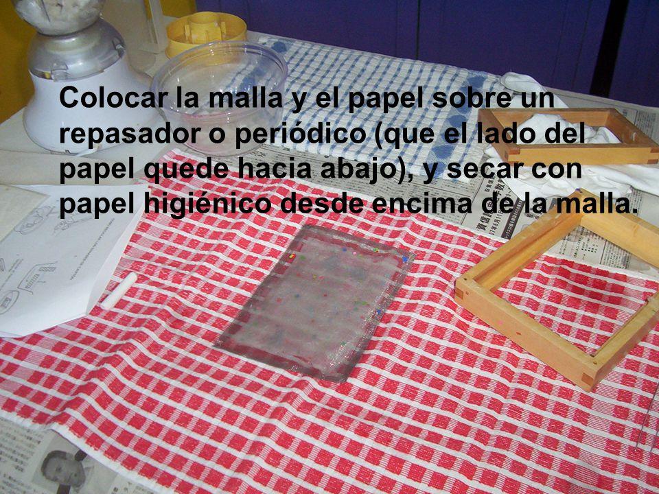 Colocar la malla y el papel sobre un repasador o periódico (que el lado del papel quede hacia abajo), y secar con papel higiénico desde encima de la malla.