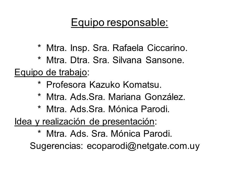 Equipo responsable: * Mtra. Insp. Sra. Rafaela Ciccarino.