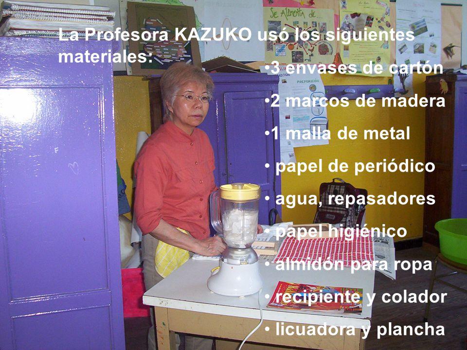 La Profesora KAZUKO usó los siguientes materiales: 3 envases de cartón 2 marcos de madera 1 malla de metal papel de periódico agua, repasadores papel higiénico almidón para ropa recipiente y colador licuadora y plancha