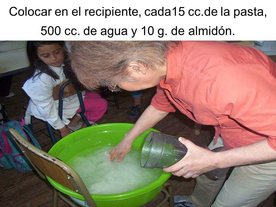 Colocar en el recipiente, cada15 cc.de la pasta, 500 cc. de agua y 10 g. de almidón.