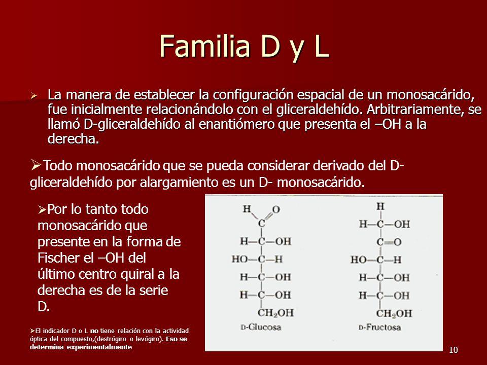 10 Familia D y L LLLLa manera de establecer la configuración espacial de un monosacárido, fue inicialmente relacionándolo con el gliceraldehído.