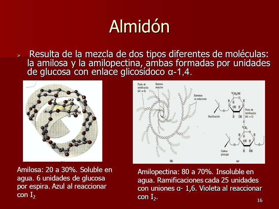 16 Almidón  R R R Resulta de la mezcla de dos tipos diferentes de moléculas: la amilosa y la amilopectina, ambas formadas por unidades de glucosa con enlace glicosídoco α-1,4.