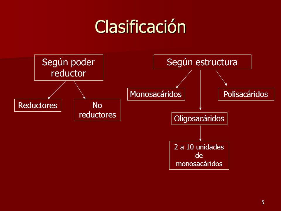 5 Clasificación Según poder reductor Según estructura ReductoresNo reductores Monosacáridos Oligosacáridos Polisacáridos 2 a 10 unidades de monosacáridos