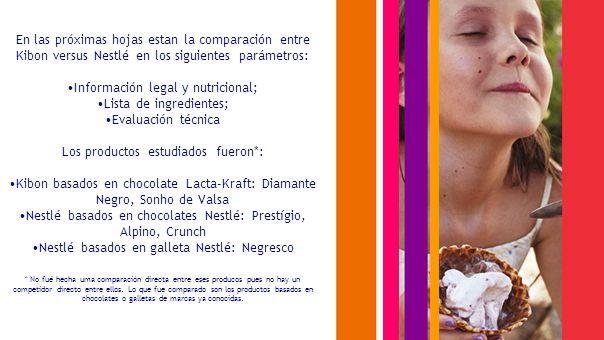 En las próximas hojas estan la comparación entre Kibon versus Nestlé en los siguientes parámetros: Información legal y nutricional; Lista de ingredientes; Evaluación técnica Los productos estudiados fueron*: Kibon basados en chocolate Lacta-Kraft: Diamante Negro, Sonho de Valsa Nestlé basados en chocolates Nestlé: Prestígio, Alpino, Crunch Nestlé basados en galleta Nestlé: Negresco * No fué hecha uma comparación directa entre eses producos pues no hay un competidor directo entre ellos.