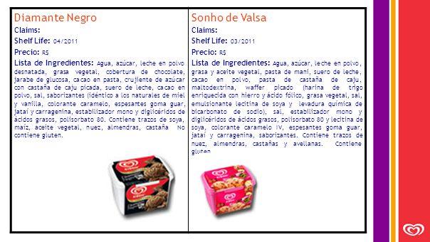 Diamante Negro Claims: Shelf Life: 04/2011 Precio: R$ Lista de Ingredientes: Agua, azúcar, leche en polvo desnatada, grasa vegetal, cobertura de chocolate, jarabe de glucosa, cacao en pasta, crujiente de azúcar con castaña de caju picada, suero de leche, cacao en polvo, sal, saborizantes (idéntico a los naturales de miel y vanilla, colorante caramelo, espesantes goma guar, jataí y carragenina, estabilizador mono y diglicéridos de ácidos grasos, polisorbato 80.