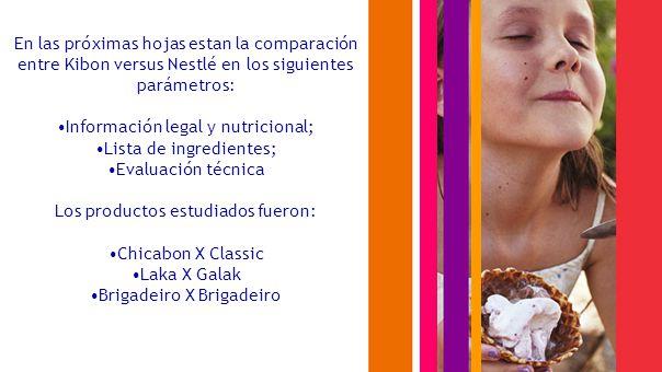 En las próximas hojas estan la comparación entre Kibon versus Nestlé en los siguientes parámetros: Información legal y nutricional; Lista de ingredientes; Evaluación técnica Los productos estudiados fueron: Chicabon X Classic Laka X Galak Brigadeiro X Brigadeiro