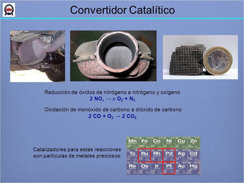 Reducción de óxidos de nitrógeno a nitrógeno y oxígeno 2 NO x → x O 2 + N 2 Oxidación de monóxido de carbono a dióxido de carbono 2 CO + O 2 → 2 CO 2 Catalizadores para estas reacciones son partículas de metales preciosos: Convertidor Catalítico