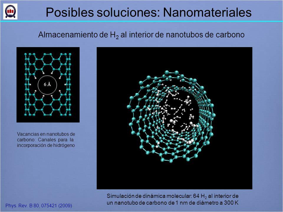 Simulación de dinámica molecular: 64 H 2 al interior de un nanotubo de carbono de 1 nm de diámetro a 300 K Almacenamiento de H 2 al interior de nanotubos de carbono Phys.