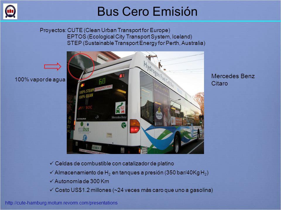 Bus Cero Emisión 100% vapor de agua Proyectos: CUTE (Clean Urban Transport for Europe) EPTOS (Ecological City Transport System, Iceland) STEP (Sustainable Transport Energy for Perth, Australia) Celdas de combustible con catalizador de platino Almacenamiento de H 2 en tanques a presión (350 bar/40Kg H 2 ) Autonomía de 300 Km Costo US$1.2 millones (~24 veces más caro que uno a gasolina) http://cute-hamburg.motum.revorm.com/presentations Mercedes Benz Citaro