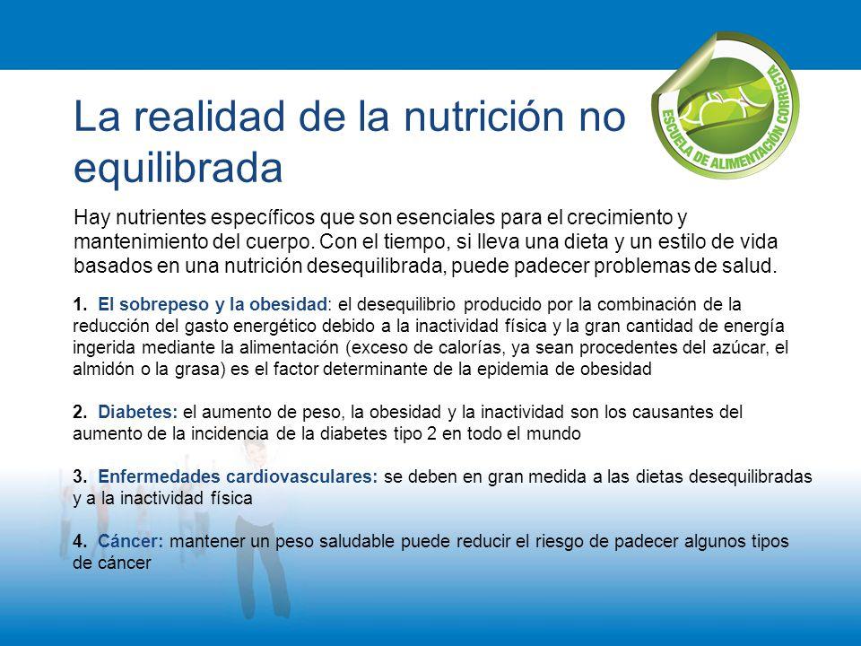 La realidad de la nutrición no equilibrada Hay nutrientes específicos que son esenciales para el crecimiento y mantenimiento del cuerpo. Con el tiempo
