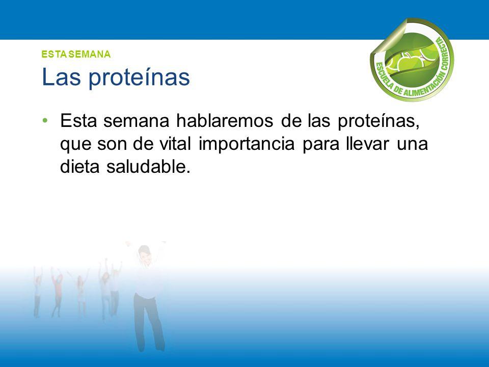 Las proteínas Esta semana hablaremos de las proteínas, que son de vital importancia para llevar una dieta saludable. ESTA SEMANA