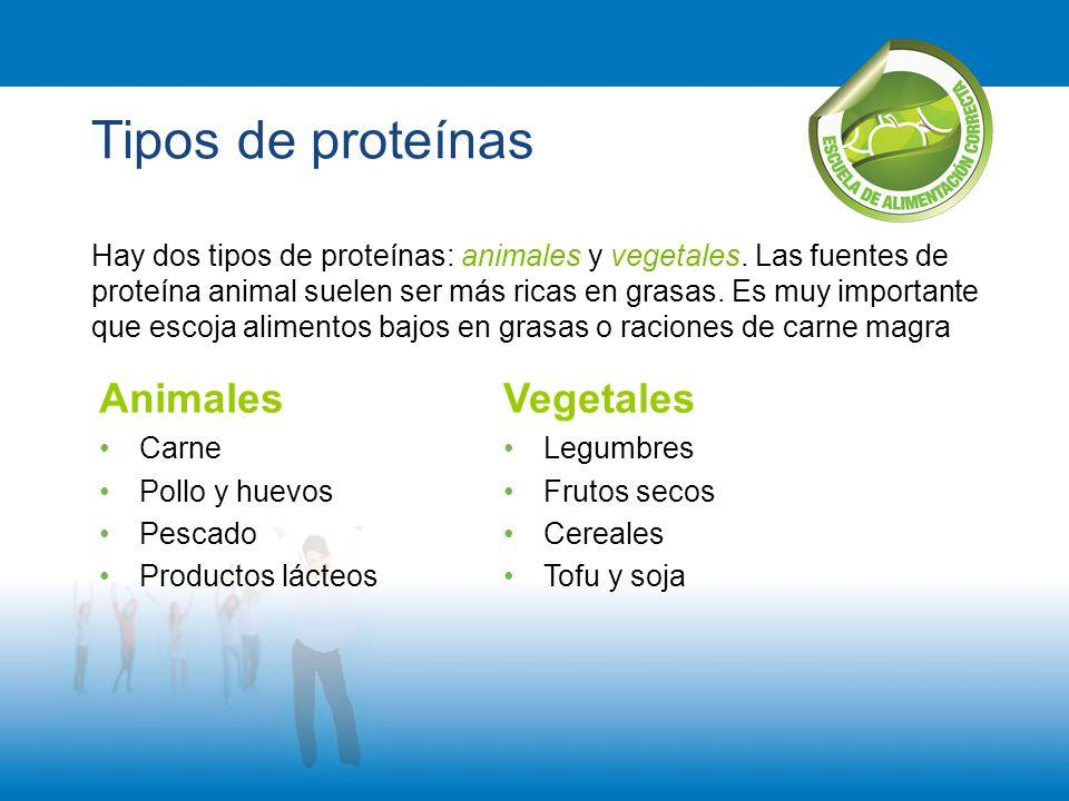Tipos de proteínas Hay dos tipos de proteínas: animales y vegetales. Las fuentes de proteína animal suelen ser más ricas en grasas. Es muy importante
