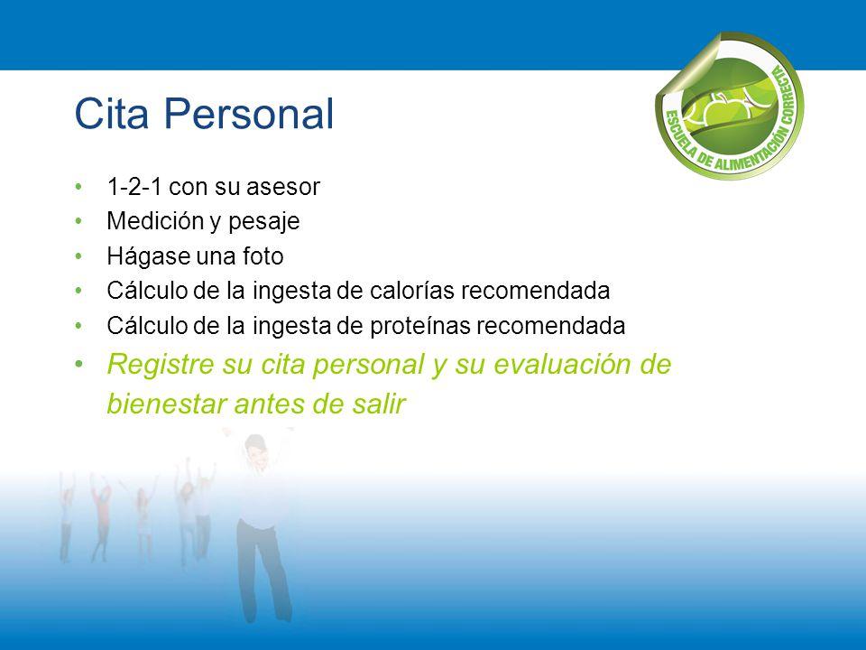 Cita Personal 1-2-1 con su asesor Medición y pesaje Hágase una foto Cálculo de la ingesta de calorías recomendada Cálculo de la ingesta de proteínas r