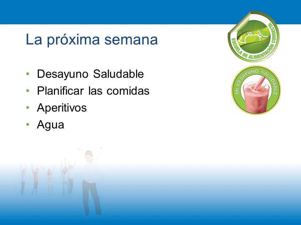 La próxima semana Desayuno Saludable Planificar las comidas Aperitivos Agua