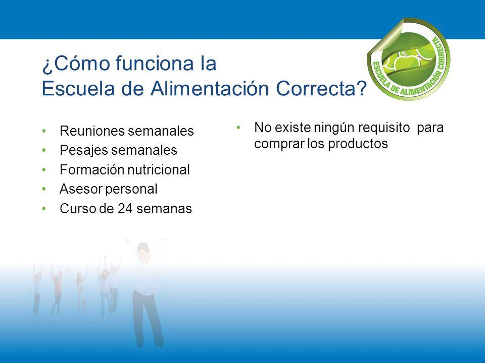 ¿Cómo funciona la Escuela de Alimentación Correcta? Reuniones semanales Pesajes semanales Formación nutricional Asesor personal Curso de 24 semanas No