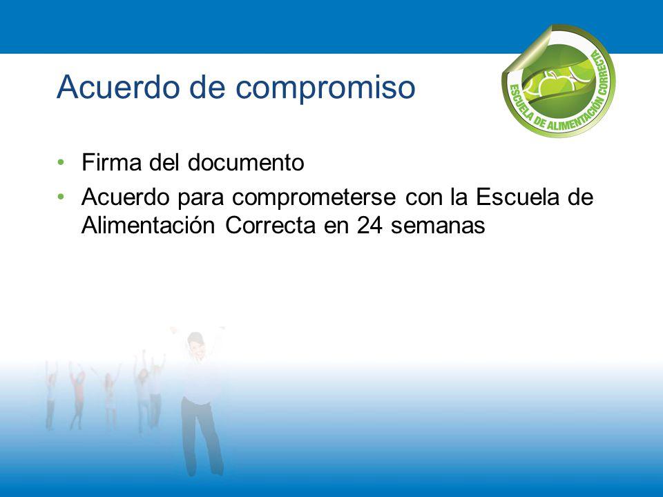 Acuerdo de compromiso Firma del documento Acuerdo para comprometerse con la Escuela de Alimentación Correcta en 24 semanas