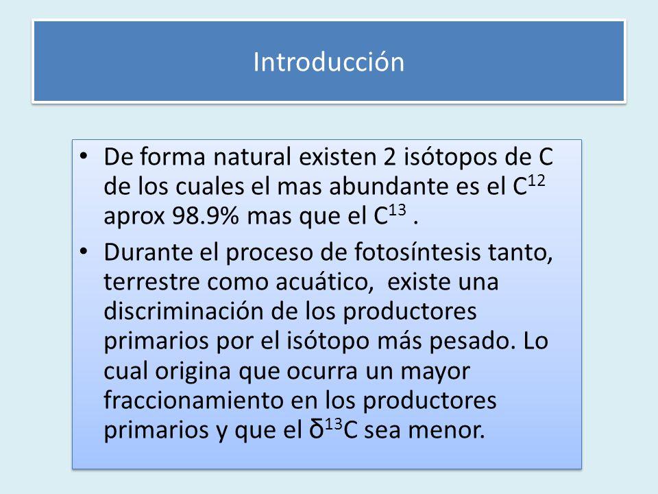 De forma natural existen 2 isótopos de C de los cuales el mas abundante es el C 12 aprox 98.9% mas que el C 13.