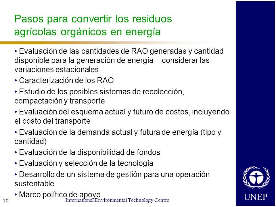 UNEP International Environmental Technology Centre 10 Pasos para convertir los residuos agrícolas orgánicos en energía Evaluación de las cantidades de RAO generadas y cantidad disponible para la generación de energía – considerar las variaciones estacionales Caracterización de los RAO Estudio de los posibles sistemas de recolección, compactación y transporte Evaluación del esquema actual y futuro de costos, incluyendo el costo del transporte Evaluación de la demanda actual y futura de energía (tipo y cantidad) Evaluación de la disponibilidad de fondos Evaluación y selección de la tecnología Desarrollo de un sistema de gestión para una operación sustentable Marco político de apoyo