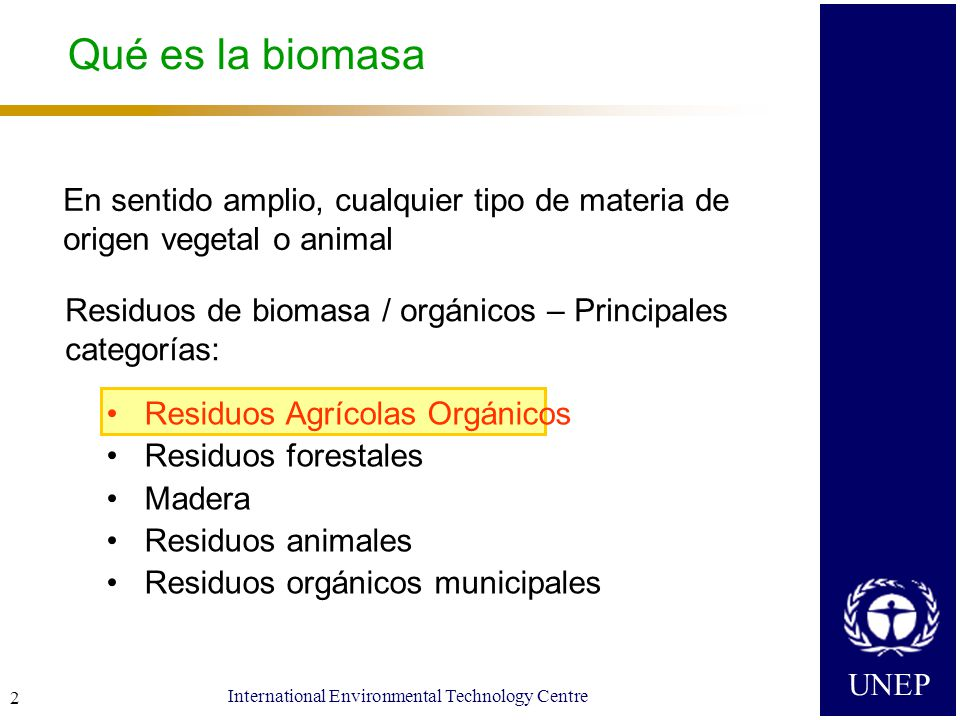 UNEP International Environmental Technology Centre 2 Qué es la biomasa En sentido amplio, cualquier tipo de materia de origen vegetal o animal Residuos de biomasa / orgánicos – Principales categorías: Residuos Agrícolas Orgánicos Residuos forestales Madera Residuos animales Residuos orgánicos municipales