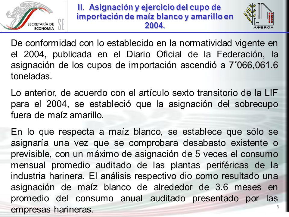 3 7´066,061.6 De conformidad con lo establecido en la normatividad vigente en el 2004, publicada en el Diario Oficial de la Federación, la asignación de los cupos de importación ascendió a 7´066,061.6 toneladas.