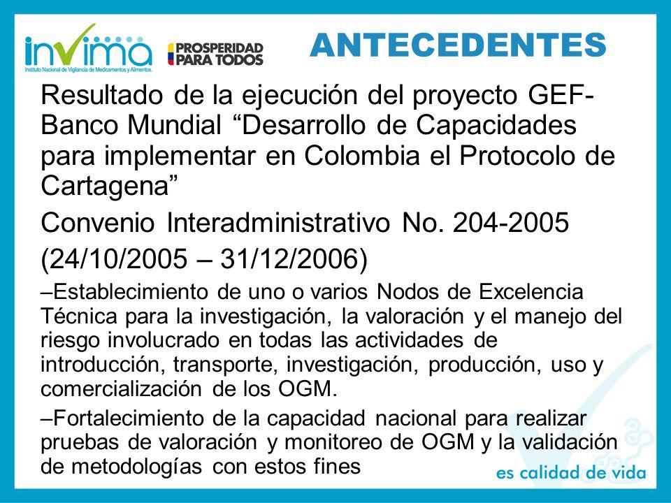 ANTECEDENTES Resultado de la ejecución del proyecto GEF- Banco Mundial Desarrollo de Capacidades para implementar en Colombia el Protocolo de Cartagena Convenio Interadministrativo No.