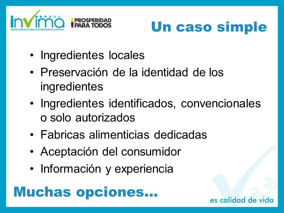 Un caso simple Many options Ingredientes locales Preservación de la identidad de los ingredientes Ingredientes identificados, convencionales o solo autorizados Fabricas alimenticias dedicadas Aceptación del consumidor Información y experiencia Muchas opciones…