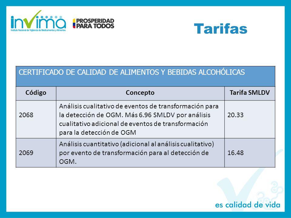 Tarifas CERTIFICADO DE CALIDAD DE ALIMENTOS Y BEBIDAS ALCOHÓLICAS CódigoConceptoTarifa SMLDV 2068 Análisis cualitativo de eventos de transformación para la detección de OGM.