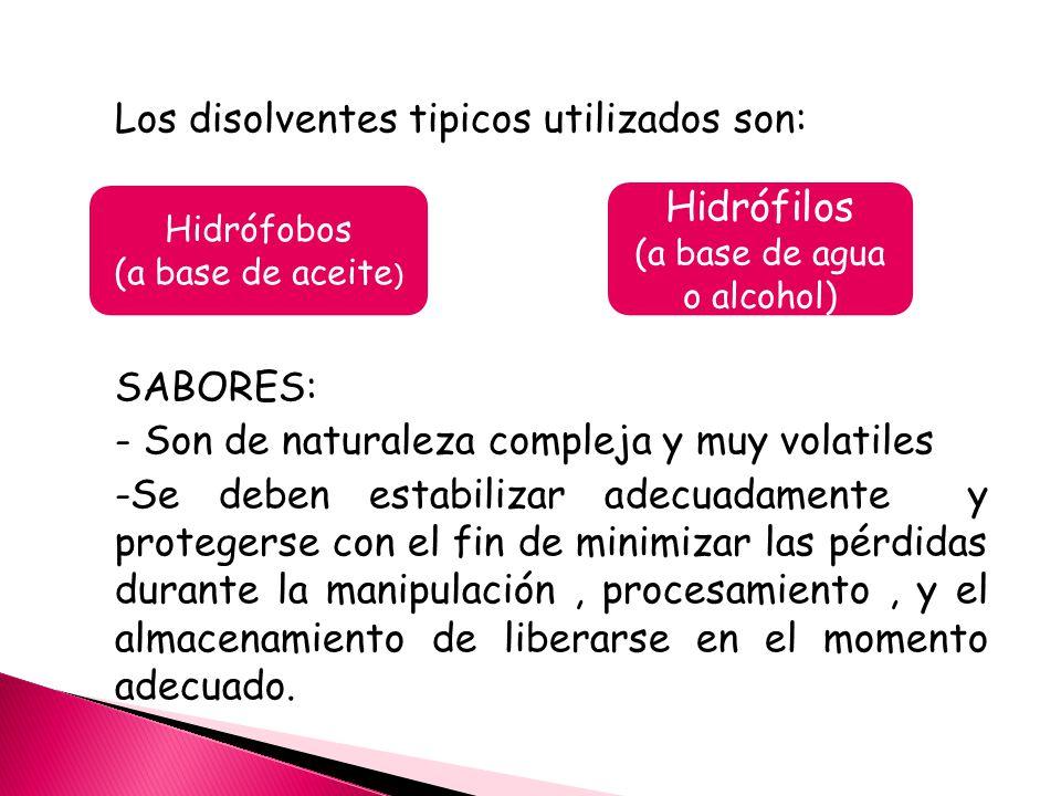 Los disolventes tipicos utilizados son: SABORES: - Son de naturaleza compleja y muy volatiles -Se deben estabilizar adecuadamente y protegerse con el fin de minimizar las pérdidas durante la manipulación, procesamiento, y el almacenamiento de liberarse en el momento adecuado.