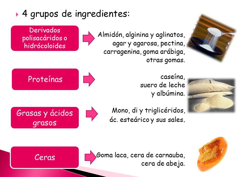  4 grupos de ingredientes:  Almidón, alginina y aglinatos, agar y agarosa, pectina, carragenina, goma arábiga, otras gomas.