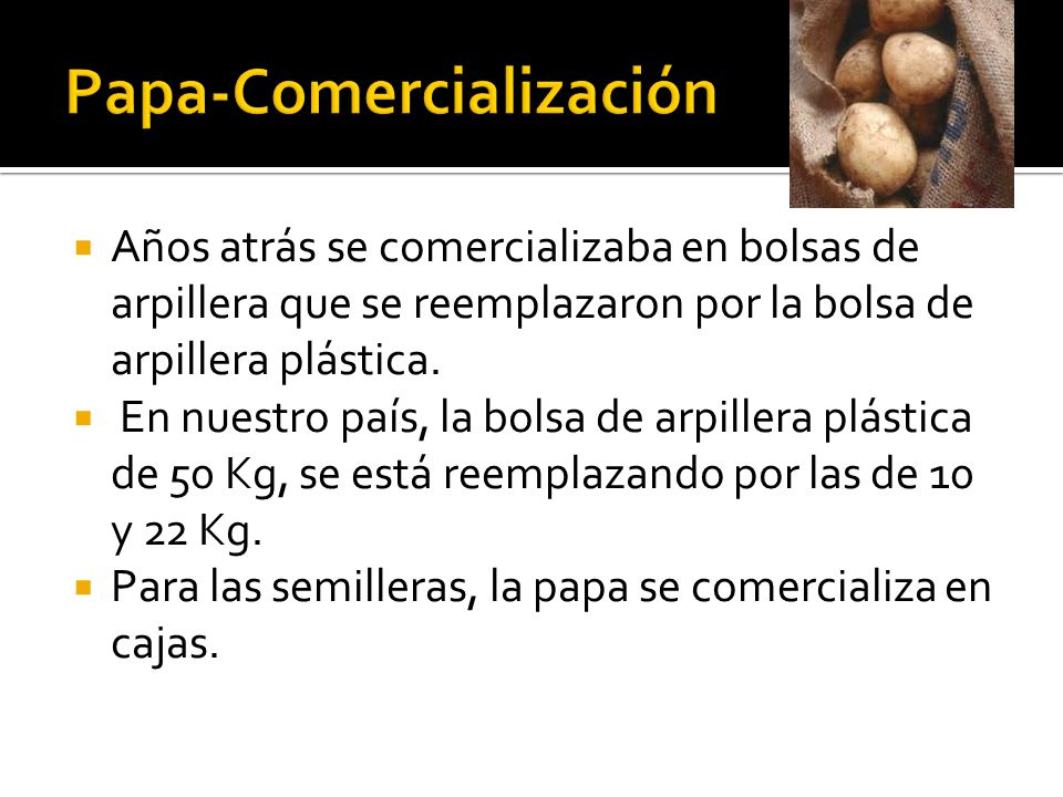  Años atrás se comercializaba en bolsas de arpillera que se reemplazaron por la bolsa de arpillera plástica.