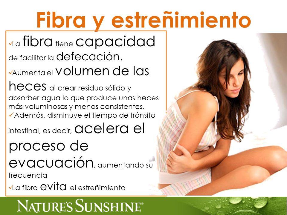 Fibra y estreñimiento La fibra tiene capacidad de facilitar la defecación.