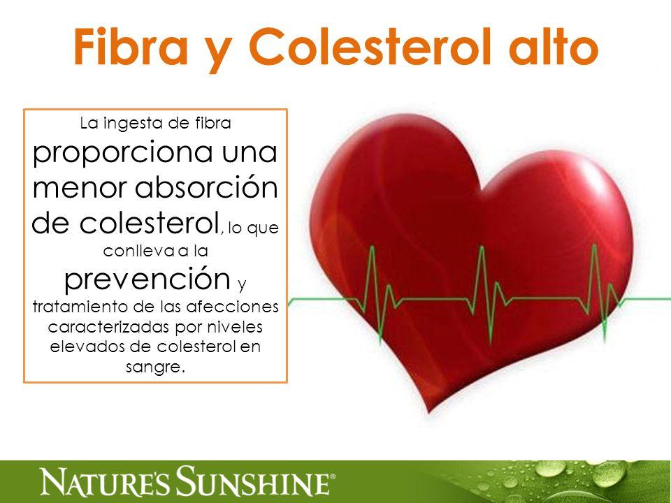 Fibra y Colesterol alto La ingesta de fibra proporciona una menor absorción de colesterol, lo que conlleva a la prevención y tratamiento de las afecciones caracterizadas por niveles elevados de colesterol en sangre.