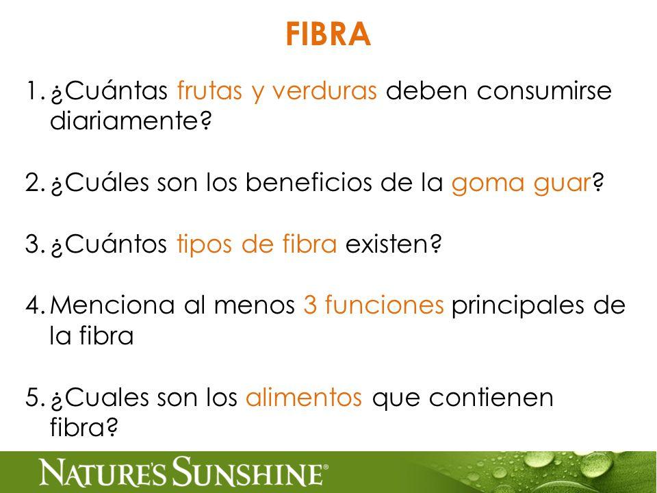 FIBRA 1.¿Cuántas frutas y verduras deben consumirse diariamente.