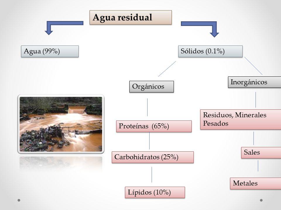 Agua residual Agua (99%) Sólidos (0.1%) Orgánicos Inorgánicos Residuos, Minerales Pesados Sales Metales Proteínas (65%) Carbohidratos (25%) Lípidos (10%)