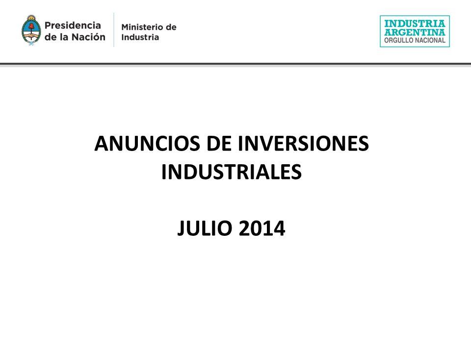 ANUNCIOS DE INVERSIONES INDUSTRIALES JULIO 2014