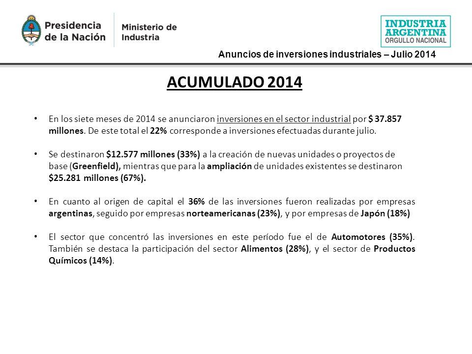 ACUMULADO 2014 En los siete meses de 2014 se anunciaron inversiones en el sector industrial por $ 37.857 millones.