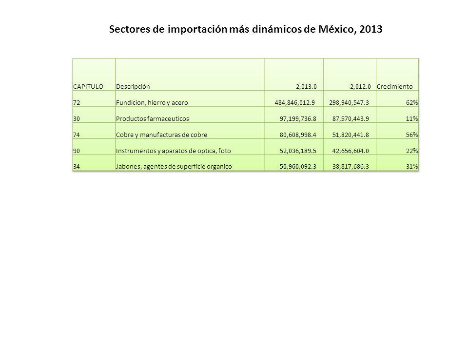 Sectores de importación más dinámicos de México, 2013