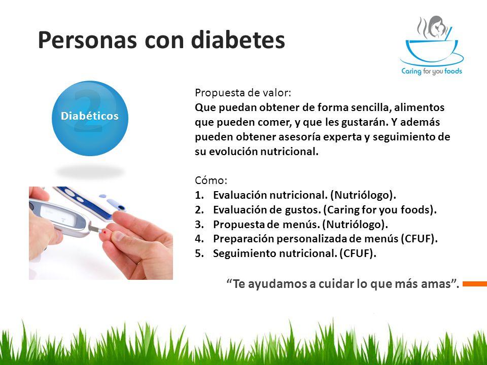Personas con diabetes Te ayudamos a cuidar lo que más amas .