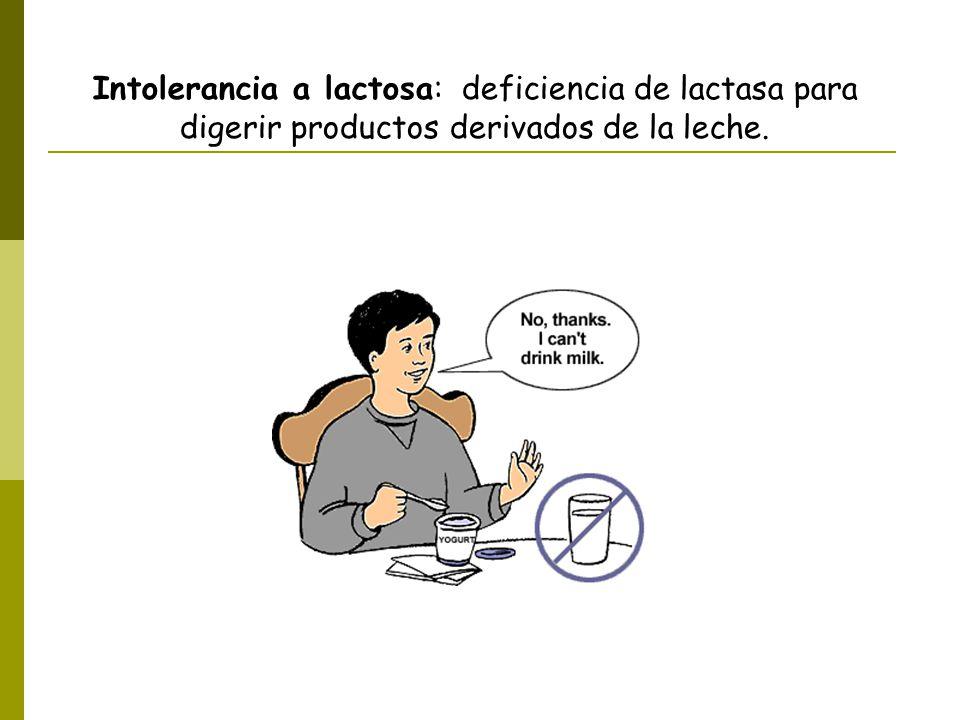 Intolerancia a lactosa: deficiencia de lactasa para digerir productos derivados de la leche.
