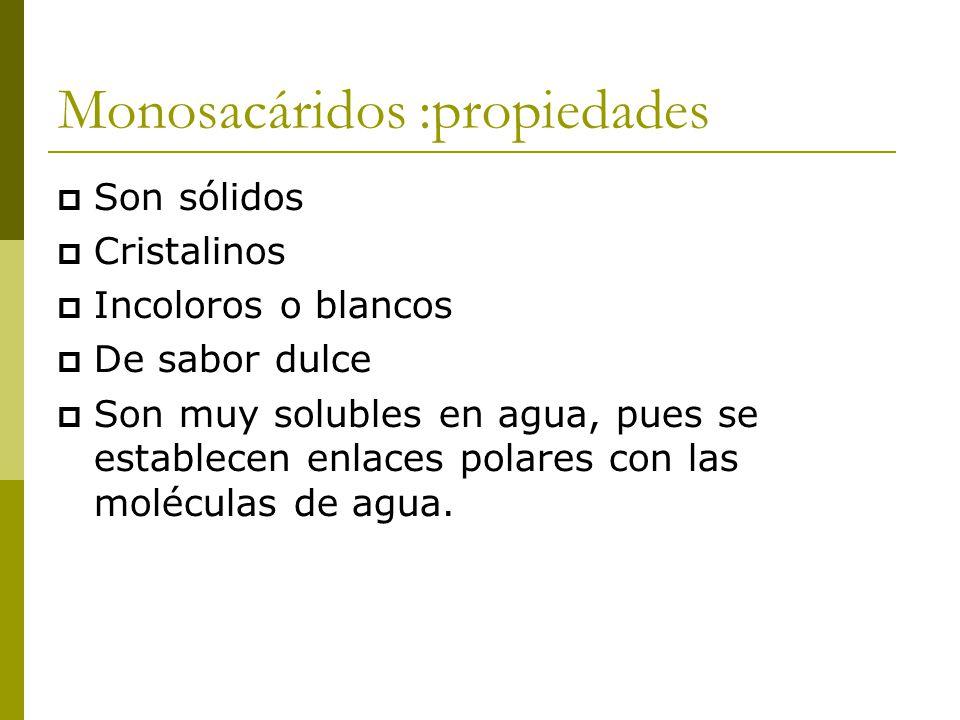 Monosacáridos :propiedades  Son sólidos  Cristalinos  Incoloros o blancos  De sabor dulce  Son muy solubles en agua, pues se establecen enlaces polares con las moléculas de agua.
