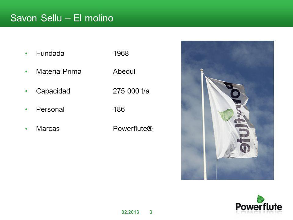 Savon Sellu – El molino Fundada1968 Materia PrimaAbedul Capacidad275 000 t/a Personal186 MarcasPowerflute® 3
